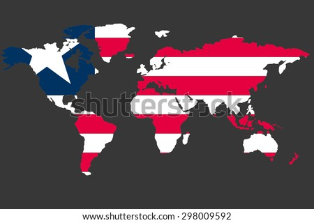 An Illustrated Map of the world with the flag of Liberia - stock photo
