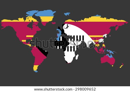 An Illustrated Map of the world with the flag of Swaziland - stock photo