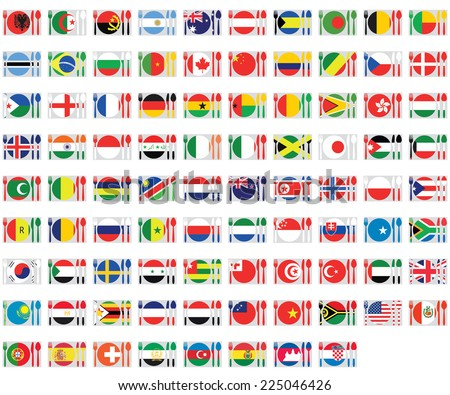 An Illustrated Set of World Flags - Cuttlery