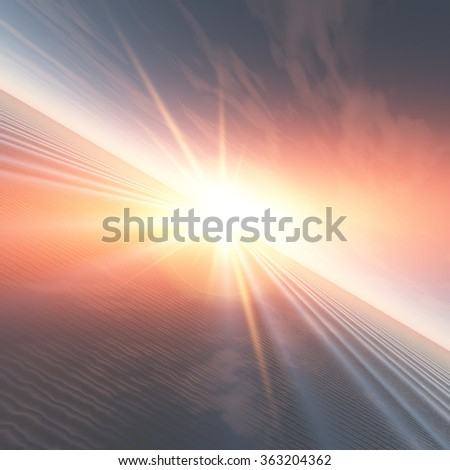 An illustration abstract surreal background with a flash of light sunrise over a ripple grid sea. - stock photo