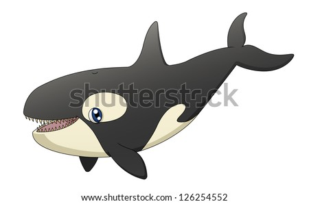 An illustration depicting a cute cartoon killer whale singing. Raster. - stock photo