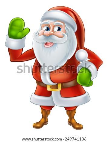 An illustration if a happy Cartoon Santa Claus character waving - stock photo