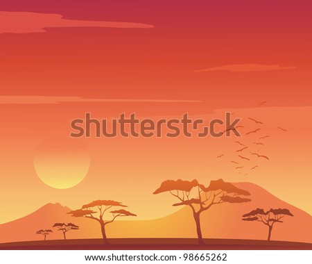 an illustration of a beautiful african landscape with acacia trees mountains and birds flying to roost under an orange sunset