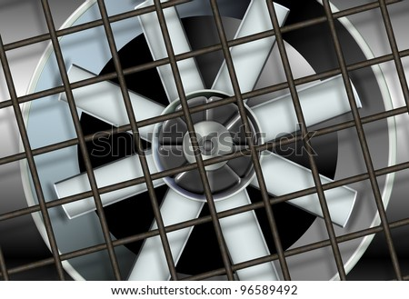 an illustration of a big industrial ventilation fan with a metal mesh in front of it / industrial ventilation fan - stock photo