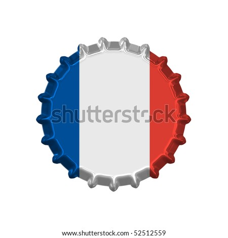 An illustration of a bottle cap with a country sign france - stock photo