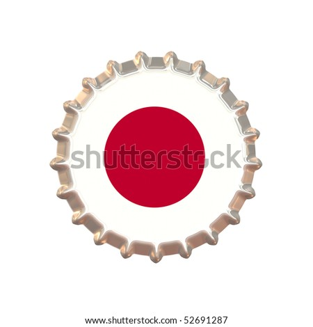 An illustration of a bottle cap with a country sign Japan - stock photo