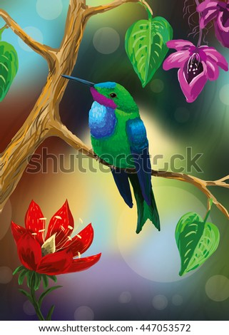 An illustration of a bright colibri (hummingbird) sitting on a branch with flowers in a tropical forest. An exotic small bird.