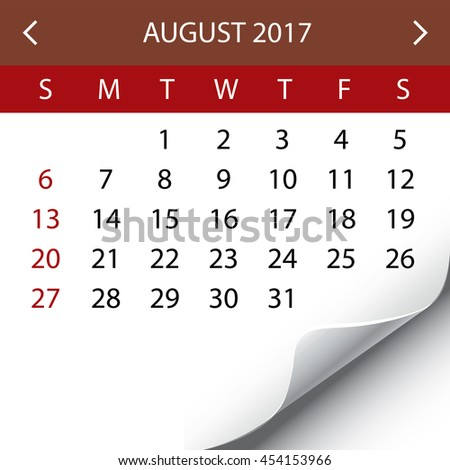 An Illustration of a 2017 Calendar - August - stock photo