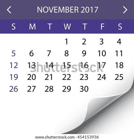 An Illustration of a 2017 Calendar - November - stock photo