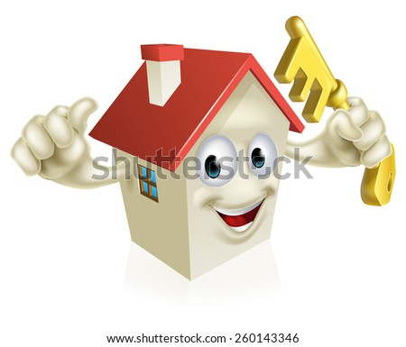 An illustration of a cartoon house character holding a key. Concept for buying a new home, real estate or similar - stock photo