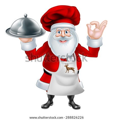 An illustration of a cartoon Santa Claus chef or cook character wearing an apron and chef hat holding a plate or platter of food - stock photo