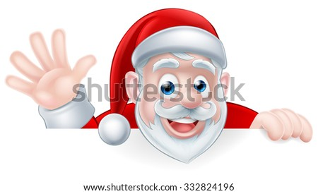An illustration of a cartoon Santa claus waving while peeking over a sign - stock photo