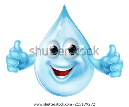 An illustration of a cartoon water drop mascot character giving a thumbs up