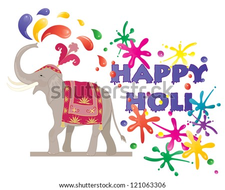 an illustration of a ceremonial elephant spraying colorful paint to celebrate the hindu festival of holi isolated on a white background - stock photo