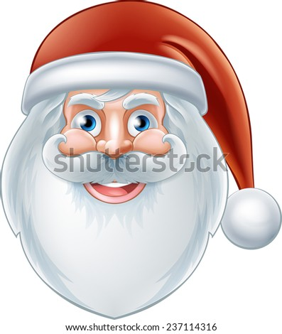An illustration of a Christmas cartoon happy Santa face