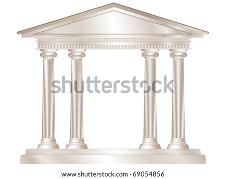 An illustration of a classical style white marble temple. Also available in vector format