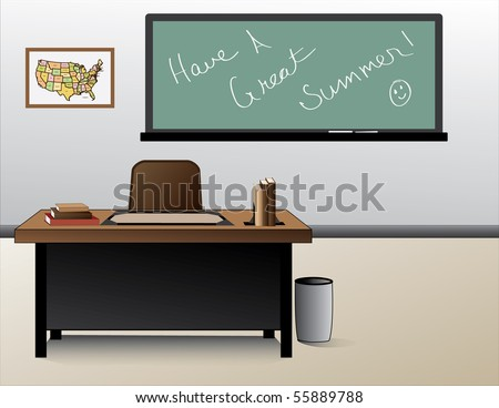An Illustration of a classroom on the last day of school before letting out for the summer. It shows the teachers desk, chalk board and map of the USA