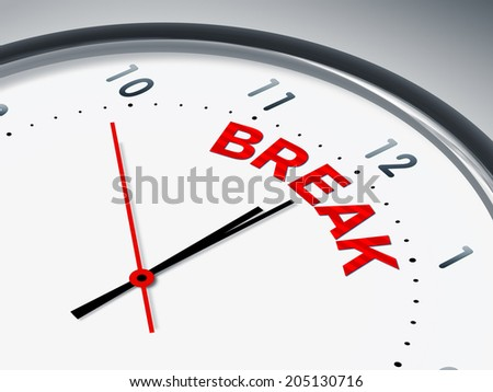 An illustration of a clock with the word break