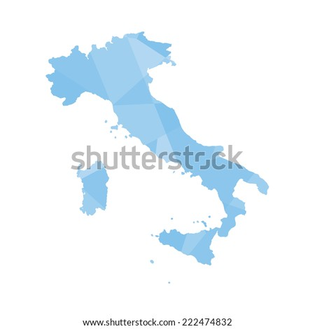 An Illustration of a colourfully filled outline of Italy