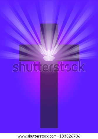 An illustration of a cross with a dove in front and light rays shining from it, on a dark purple and pink background. - stock photo