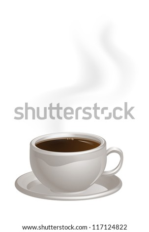 An illustration of a cup of steaming black Coffee on a saucer