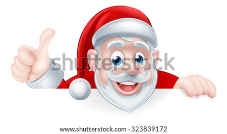 An illustration of a cute cartoon Santa peeking above a sign giving a thumbs up - stock photo