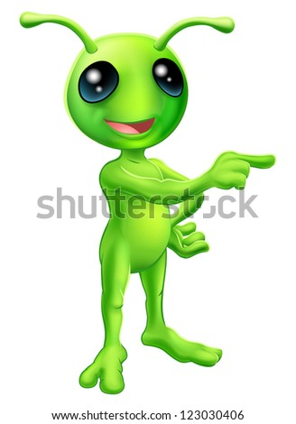 An illustration of a cute green cartoon alien pointing a finger and showing something - stock photo