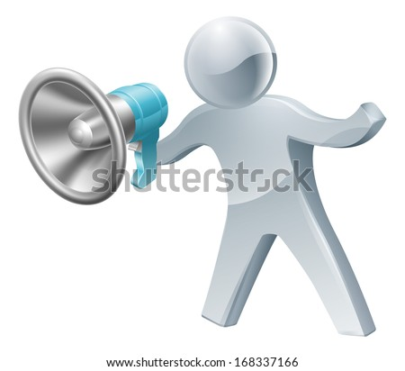 An illustration of a cute silver person shouting into megaphone or bullhorn. - stock photo
