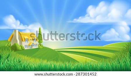 An illustration of a cute thatched farm cottage in a landscape of rolling hills - stock photo
