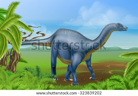 An illustration of a Diplodocus dinosaur from the sauropod family like brachiosaurus and other long neck dinosaurs in a background scene. What we used to call brontosaurus