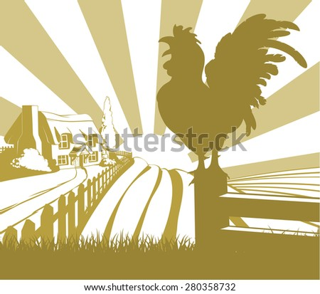 An illustration of a farm house thatched cottage in an idyllic landscape of rolling hills with a cockerel crowing in silhouette standing in the foreground - stock photo