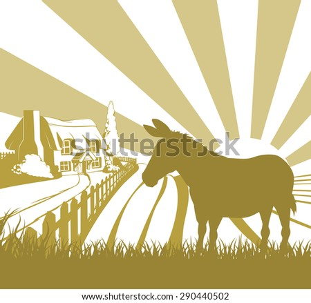 An illustration of a farm house thatched cottage in an idyllic landscape of rolling hills with a donkey in silhouette standing in the foreground - stock photo