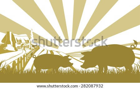 An illustration of a farm house thatched cottage in an idyllic landscape of rolling hills with two pigs in silhouette standing in the foreground - stock photo
