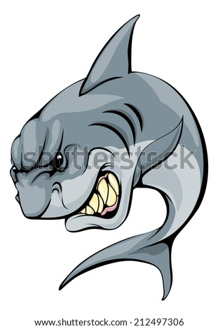 An illustration of a fierce shark animal character or sports mascot - stock photo
