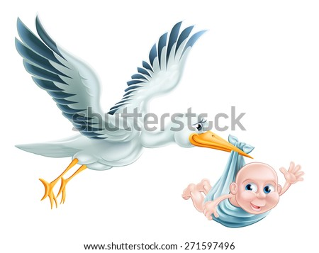 An illustration of a flying cartoon stork delivering a newborn baby. Classic metaphor for pregnancy or child birth - stock photo