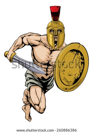 An illustration of a gladiator warrior character or sports mascot  in a trojan or Spartan style helmet holding a sword and shield - stock photo