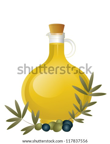 an illustration of a glass jug of olive oil with cork stopper and an arrangement of green and black olives with foliage isolated on a white background