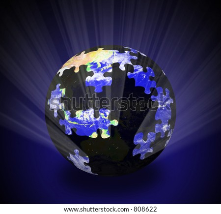 An illustration of a glowing globe - stock photo
