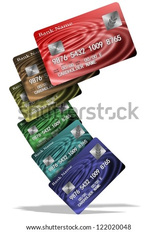 An illustration of a group of colorful credit cards / Credit cards