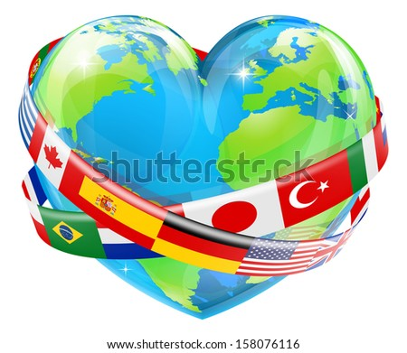 An illustration of a heart shaped world earth globe with the flags of many different countries flying around it.  - stock photo