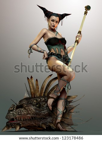 an illustration of a lady with staff and dragon head - stock photo
