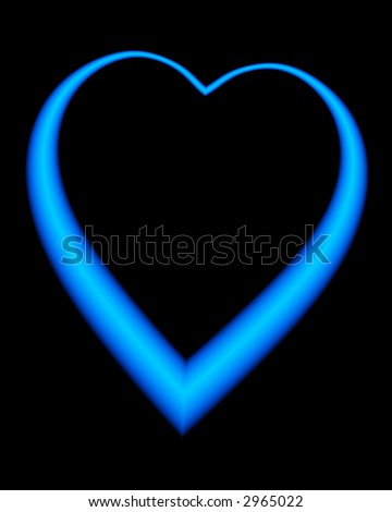 An illustration of a large heart in a neon blue color.  Generated from a fractal program - stock photo