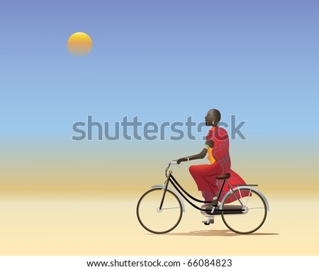 an illustration of a masai man on a bicycle riding along a dusty track across the african plains - stock photo