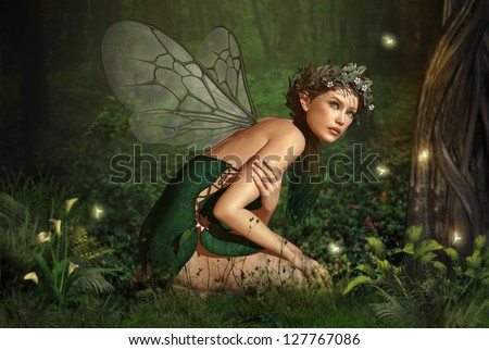an illustration of a nymph who lives in the forest - stock photo