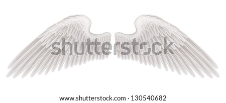 An illustration of a pair of beautiful white spread wings. - stock photo