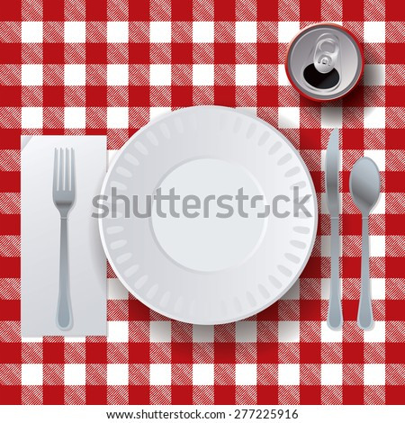 An illustration of a picnic tablecloth, placesetting, and soda.