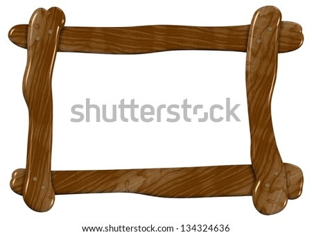 An illustration of a roughly made wooden frame / Wooden frame - stock photo