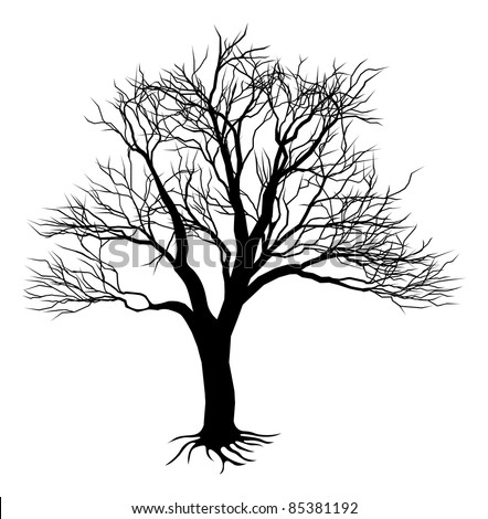An illustration of a scary bare black tree silhouette