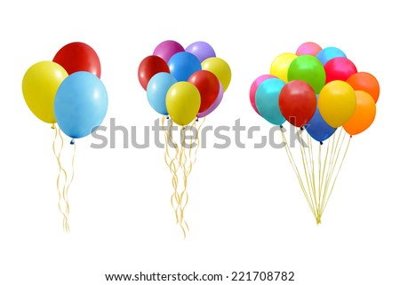 An illustration of a set of colourful balloons  - stock photo