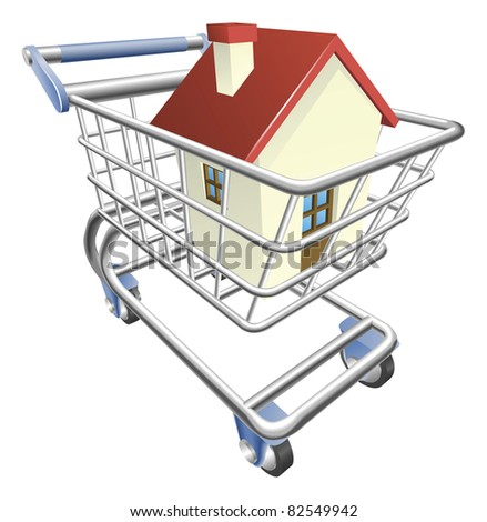 An illustration of a shopping cart trolley with house